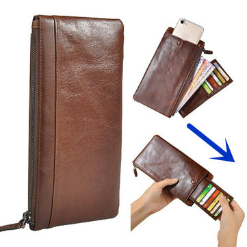 Geniune Leather Zipper Long Wallet Purse Card Holder 5.5'' Phone Case For Iphone Huawei Samsung