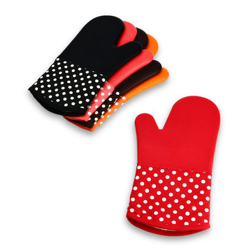 KCASA KC-PG091 1Pc Silicone Cotton Microwave Oven Mitt BBQ Oven Heat Resistant Potholder Glove