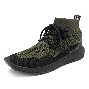Men Knitted Fabric Casual Sneakers