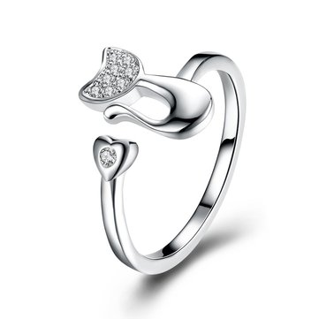 YUEYIN 925 Prata Abertura Cat Heart Ring