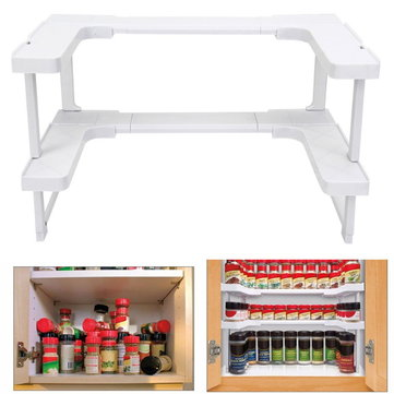 2 Layers Adjustable Spicy Shelf Kitchen Stackable Shelving Spice Rack Storage Rack Organizer Holder Pantry Pan Pot Organizer New Kitchen Space Rack Organizer Storage Carrier