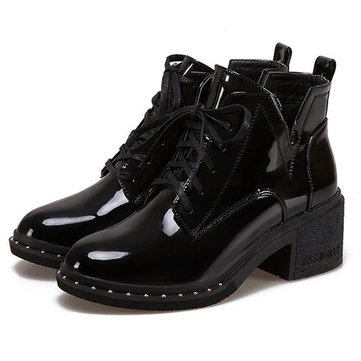 Patent Leather Square Heel Boots фото
