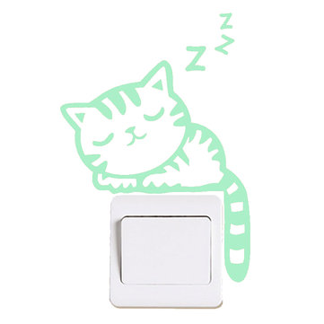 Sleeping Cat Creative Luminous Switch Sticker