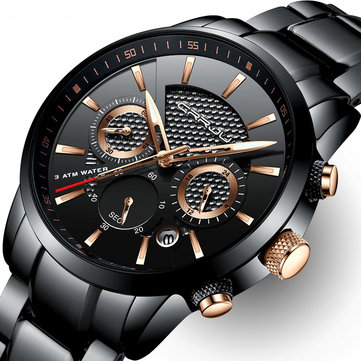 CRRJU Waterproof Calendar Men Watches