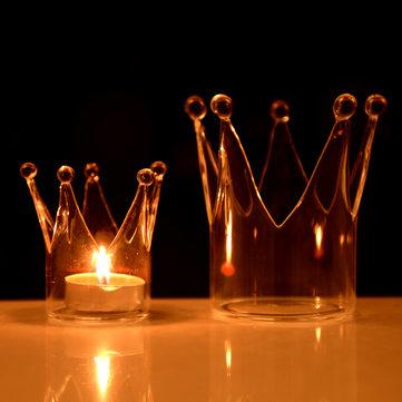 Crown Glass Candle Holder Candelabrum Candlestick Llight Dinner Wedding Decor