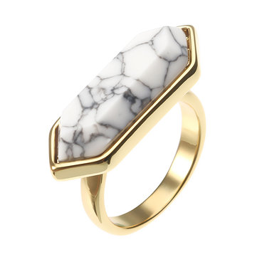 JASSY® Weinlese-Weiß-Sechseck-Türkis-Ring-Luxux 18K Gold überzogenes Geschenk für Frauen
