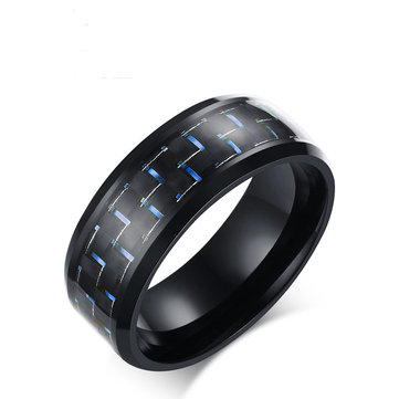 8mm Stainless Steel Carbon Fiber Ring