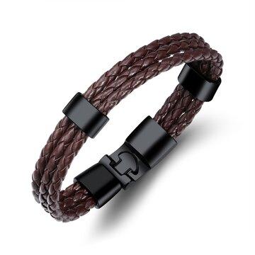 Bracelet fashion en cuir en tricot pour homme