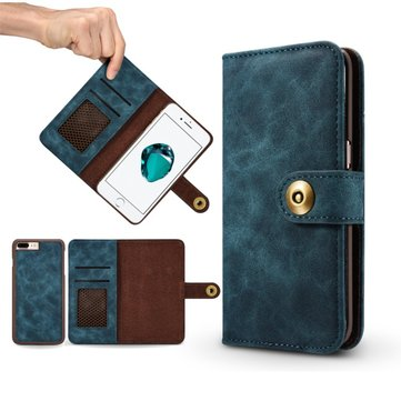 Caseme Leather Wallet Case With Card Slots Detachable Phone Case For iPhone 7 Plus 5.5 Inch, Jasper dark grey navy blue red brown khaki