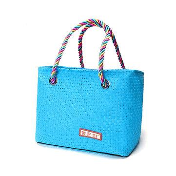 Honana HN-B68 Woven Travel Storage Bag Durable Waterproof Beach Tote Sturdy Stripe Bag