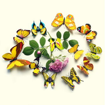 12Pcs 3D color de la pared de la mariposa pegatina imán de refrigerador Home Decor Applique