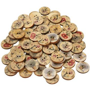 100pcs de botones de madera de color mezclado Botones de flor de coser de artesanía de DIY Adorno de ropa y gorro y bolsa