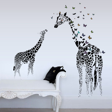 3D Giraffe Colorful Butterfly Wall Sticker DIY