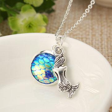 Mermaid Gemstone Colorful Necklace