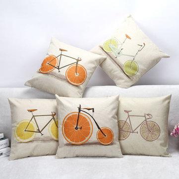 Lemon Orange Grapefruit Bicycle Throw Pillow Case Cotton Linen Sofa Cushion Cover