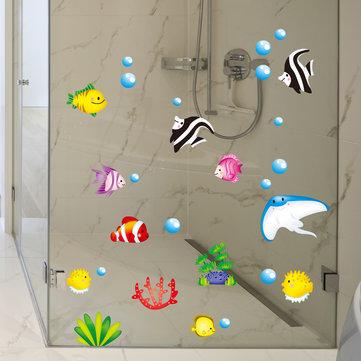 Tropical Cartoon Fish Sea Bubble Ocean World Removable Wall Bathroom Sticker Glass Pastes Decor