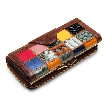 Frauen Echtes Leder Trifold Stitching Wallet