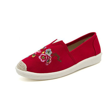 Embroidered Canvas Soft Flat Loafers