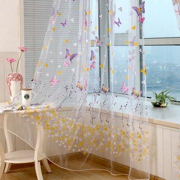Decorazione domestica della tenda pura del divisore della stanza della finestra della tenda del voile del fiore della farfalla variopinta