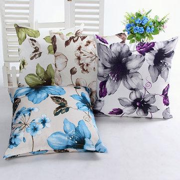 Leaves Flower Bamboo Linen Throw Pillow Case