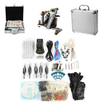 Professional Senior Tattoo Coil Machine Kit EP-2 Power Supply Skull Pattern Pedal Suit