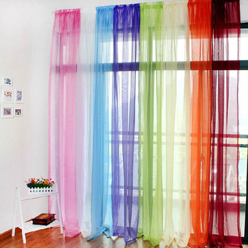 100X200cm Translucent Sheer Tulle Voile Organdy Curtain