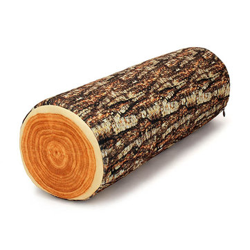 3D Realistic Osier Stump Log Wood Shape Throw Pillow