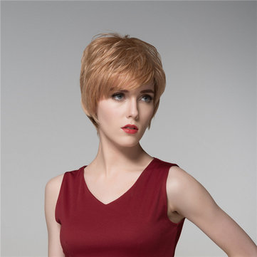 Lady Short Cool Straight Human Hair Wig Virgin Remy Mono Top Capless Side Bang 14 Colors