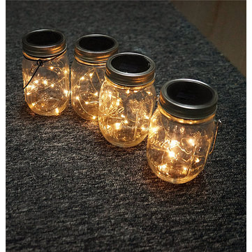 Solar Powered 2M 20LEDs Mason Jar Lid Fairy String Light  Wire Lamp For Garden Decor