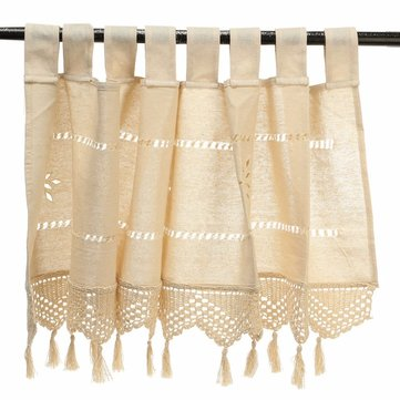 Cotton Linen Embroidery Cafe Curtain