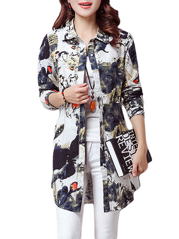 Ink Printing High Waist Design Vintage Casual Women Blouse