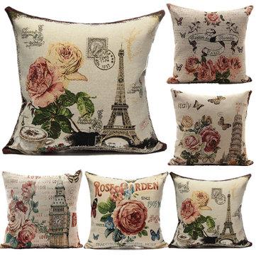 European Style Flower Eiffel Tower Printed Pillow Case Home Decor, White