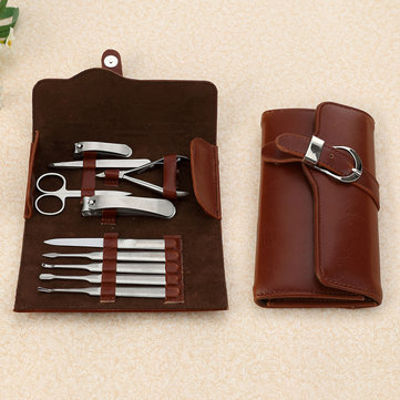 10Pcs Nail Clippers Set Stainless Steel Nipper Manicure Tools Kit Pusher Cleaner File With Bag
