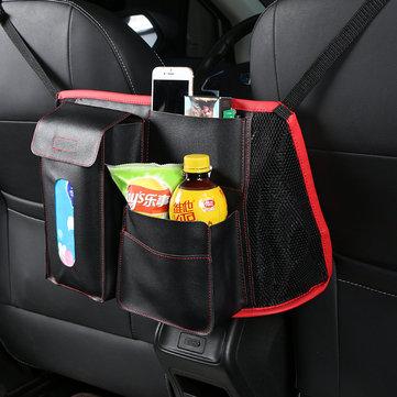 Leather Car Seat Back Storage Bag