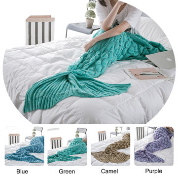 90x190cm Yarn Knitting Mermaid Tail Blanket Fish Scales Style Warm Super Soft Sleep Bag Bed Mat