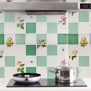 Kitchen Selfadhesive Oil-proof Wall Sticker Aluminum Removable Waterproof Sticker Home Decor, White