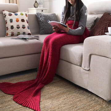 Yarn Knitted Mermaid Tail Blanket Handmade Crochet Throw Super Soft Sofa Bed Mat Sleeping Bag