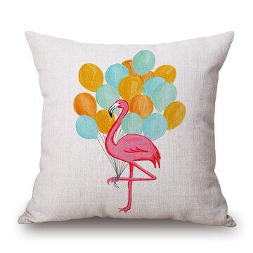 Vintage Flamingos Cotton Linen Throw Pillow Case