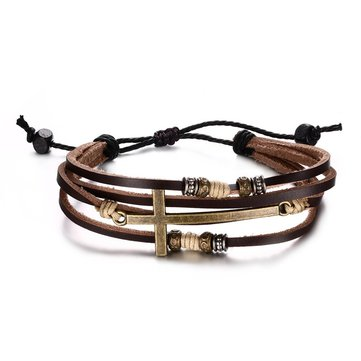 Genuine Leather Cross Bracelets