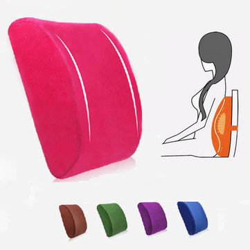 Elastic Band Plush Memory Office Chair Cushion Lumbar Back Pillow, Rose red light coffe pink gray