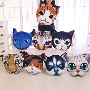 Creative Funny 3D Dog Cat Head Pillow PP Cotton Simulation Animal Cushion Birthay Gift Trick Toys, White