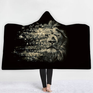 Thick Luxury Family Wolf Lion Hooded Hoodie Blanket Winter Warm Coral Fleece Printed Portable Anti-Pilling Soft Fluffy Blankets