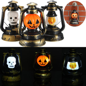 Halloween Pumpkin Skull Witch Lantern Lamp With Light Laughter, White