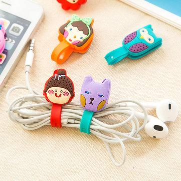2Pcs Cartoon Cable Earphone Cord Wrap Organizer