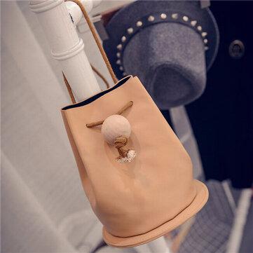 Women Elegant Casual Bucket String Design Crossbody Bag