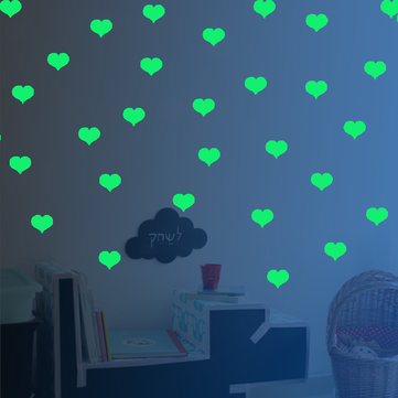 Honana DX-162 18PCS 6X5CM Fluorescent Glow Love Shape Wall Sticker Home Bedroom Decor