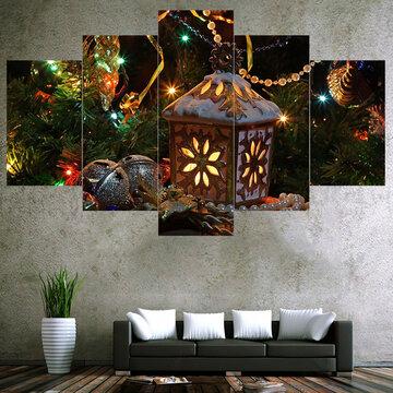 5Pcs Christmas Canvas Painting Frameless