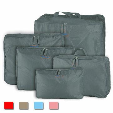 5PCS Travel Homehold Storage Nylon Zipper Bag Organizer Underwear Tie Cravate Cosmétique Bagage Mallette Mallette