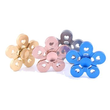Aluminum Alloy Five Leaves Colorful Fidget Hand Spinner EDC Reduce Stress Focus Attention Toys
