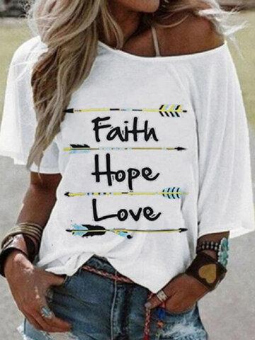Off-shoulder Letter Print T-shirt